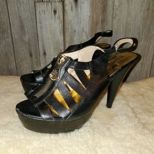 Michael Kors black zipper heels sandals 9